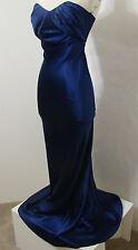 COLLETTE DINNIGAN 100% Silk Royal Blue Strapless Ruched Bust Gown S Australia