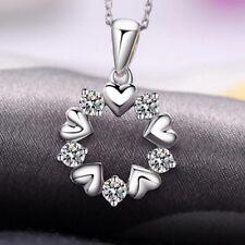 925 Silber AAA Kristall Anhänger Schutzengel Glücksbringer Strass Herz Halskette