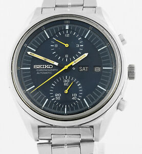 Vintage SEIKO 6138 3002 Blue Jumbo Chronograph Automatic 1976 Mens Wrist Watch