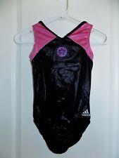 Adidas Gymnastics Leotard Adult Small As Pink Black Foil Lknw Shine Star V-Neck