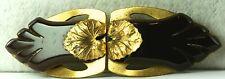 Vintage Long Carved Brown Bakelite Brass Ladies Dress Buckle Lily Pad Leaf