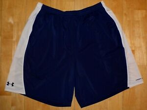 UNDER ARMOUR Men HEAT GEAR Athletic LOOSE Basketball XXL 2XL Blue w White Shorts