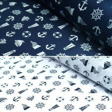 Polycotton Fabric Nautical Yacht Lighthouse Sailing Helms and Life Rings