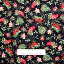 Christmas Fabric - Sleigh Tree Holly Stocking on Gray Scroll - Springs YARD