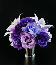12pc Silver Vase w/Flowers Centerpiece Table top flowers.Shades of Purple.