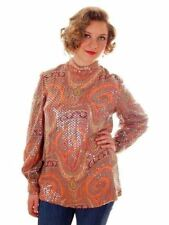 Vintage Womens Sequin Psychedelic Paisley Tunic 1960s Medium