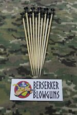 """10 - .40 cal 5"""" Bamboo Wooden Spear Darts with Black Cones by Berserker Blowguns"""