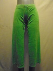 Juicy Couture Women's Green Terry Cloth Wide Leg Cropped Track Pants Size Small