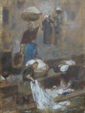 Georges BELLANGER 1847-1918 FEMME AU LAVOIR  33 x 24,5 cm