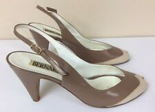 Women's Bernardo High Heel Shoes Two Tone Brown/Tan Size 8N Leather Italian Made