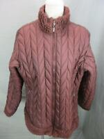 Patagonia Size XL Womens Brown Athletic Full Zip Faux Fur No Hood Quilted Jacket