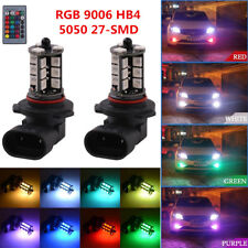 1Pair Car LED Fog Light Bulbs RGB 9006 HB4 5050 27-SMD 16 Colors 5 Modes 5050SMD