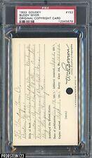 1933 Goudey #153 Buddy Myer Original Copyright Patent Proof Registration PSA