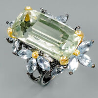 Fine Art24ct+ Natural Green Amethyst 925 Sterling Silver Ring Size 8/R89416