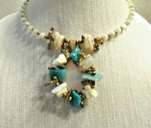 MIRIAM HASKELL Signed Vintage MOP/Turquoise Choker Pendant Necklace ~ STUNNING!