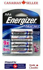 4 PC Genuine Energizer Ultimate Lithium AA Batteries L91BP - Expiry 2033