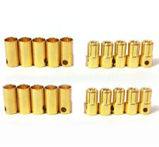 10 PAIRS MALE/FEMALE 6.5mm GOLD PLATED BULLET BANANA PLUG CONNECTOR RC BATTERY