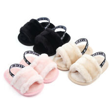 Baby Girls Slippers Slider Fluffy Flat Shoes Princess Party Slip On Sandals Size