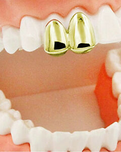 Double Cap 2 Teeth Grillz Silver Rose Gold Plated Dental Grills Hip Hop Jewelry