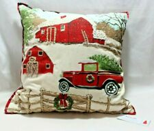 "Bella Lux Christmas on The Farm Tree in Truck 20"" x 20"" Throw Toss Pillow New"