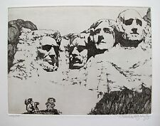 "CHARLES BRAGG ""MOUNT RUSHMORE"" Hand Signed Limited Edition Etching RARE!"