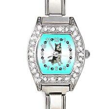 Alaskan Malamute CZ Ladies Stainless Steel Italian Charms Wrist Watch BJ1041