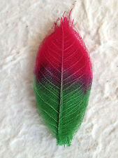 25 SMALL two tone SKELETON LEAVES Red/Green, Cards, soap, Christmas, candle