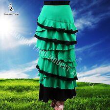 SHARON TANG Modest Apparel Long Green Knit Ruffle Layer Skirt M ST132080006-10