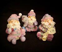 "Set of 3 | 55063 Christmas Sugar Plum Santas 2002 Home Interiors About 4"" Tall"