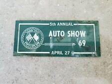 Vintage 1969 Kansas State Sports Car Club Auto Show Metal Dash Plaque