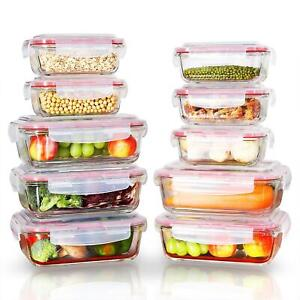 Vinsani 10PCs Rectangle Glass Food Storage Containers with Airtight Lids
