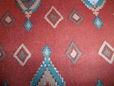 "x 58"" 100%  Polester Aztec Blue Red Microsuede Brick Red Burnt OrangeBy the Yard"