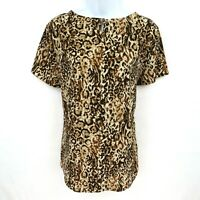 Merona Blouse Top Shirt Womens Size XL Brown Leopard Print SILKY & LIGHTWEIGHT!