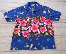 VTG 60s 70s Ui-Maikai Blue Hawaiian Aloha Camp Button Front Short Sleeve Shirt M