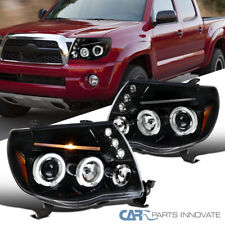 Fit Toyota 05-11 Tacoma Pickup Pearl Black LED Halo Projector Headlights Pair