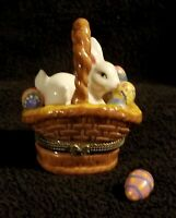 Porcelain Easter Basket Hinged Box With Easter Bunny & Painted Eggs