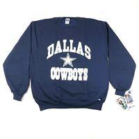 Vintage Dallas Cowboys Mens XL Blue Sweatshirt Crew Neck Russell Star NWT
