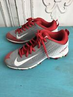 Boys Nike Vapor BSBL Low Baseball Cleats  Red Gray & White Size 5 Youth VGC