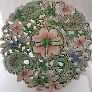Centerpiece Footed Pedestal Openwork Bowl Garden, Dragonflies, Flowers, Paisley