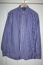 WOLSEY PREMIUM COTTON NAVY & PINK STRIPED MENS SHIRT IN SIZE L LONG SLEEVE