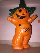 New Vintage Set Of 10 Halloween Blow Mold Smiling Scarecrow Novelty Lights