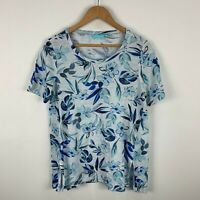 Blue Illusion Top Womens Size Small Floral Multicoloured 100% Linen Short Sleeve