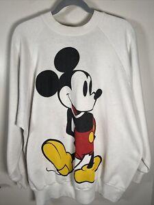 Vintage Mickey Mouse Sweatshirt Crewneck 80s 90s Disney Classic Logo White 2XL
