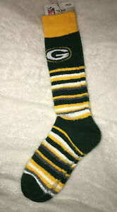 NEW NFL Green Bay Packers Ladies Tall Socks Soft Stretch OSFM green gold whiite