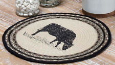 SAWYER MILL COW Jute Tablemat Set/6 Braided Farmhouse Black Stencil Barn 13""