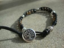 Men's 6mm Tiger Eye and Silver Beaded Wrap Bracelet with Black Leather  USA