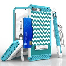 For iPhone 8 Plus,7 Plus Armor Tri Shield Protector Clip Case  Teal Chevron