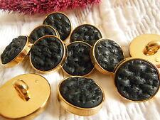 lot 10 boutons noir doré  texturé couture à pied diamètre: 1,7 cm ref 2143