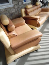 Vintage Large Tan & Beige Leather Sofa Couch Chair Modern design Pre owned AS IS
