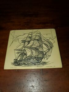Vintage Signed Scrimshaw Save the Whale Collection 1707 Constitution Box Lid